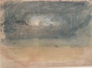 A close -up of one of One of  Turner's colour studies, Blue moonlight over yellow sands, c 1824