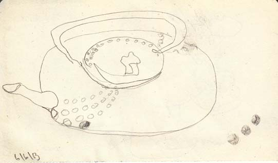 Blind drawing of the teapot