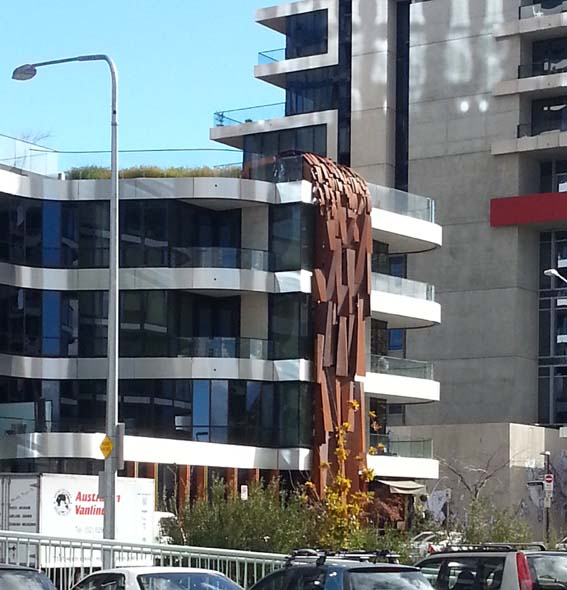 Under the 'waterfall' at the South Building, New Acton
