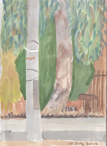 Light pole and tree, 10 July 2013