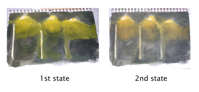 First and second versions of the painting