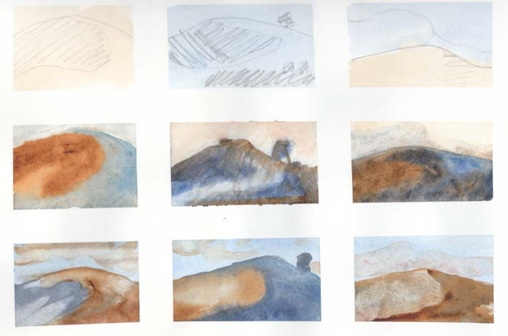 Practice sheets of small watercolours focussing on the changing light on a nearby hill. # August 2013