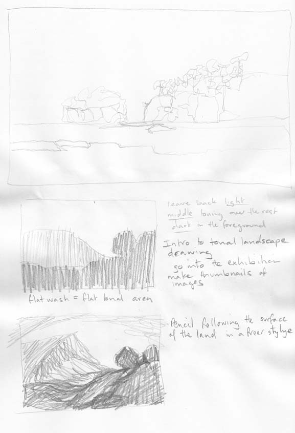 Two sketching techniques. The top a pencil moves quickly and lightly over the surface. The lower two are fast thumbnail sketches.