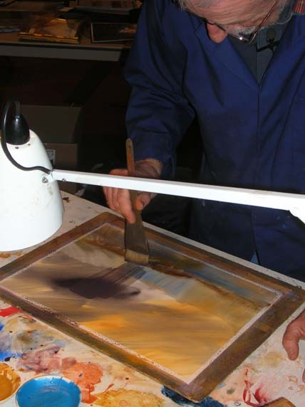 Toni Smibert demonstrating JMW Turner's watercolour techniques