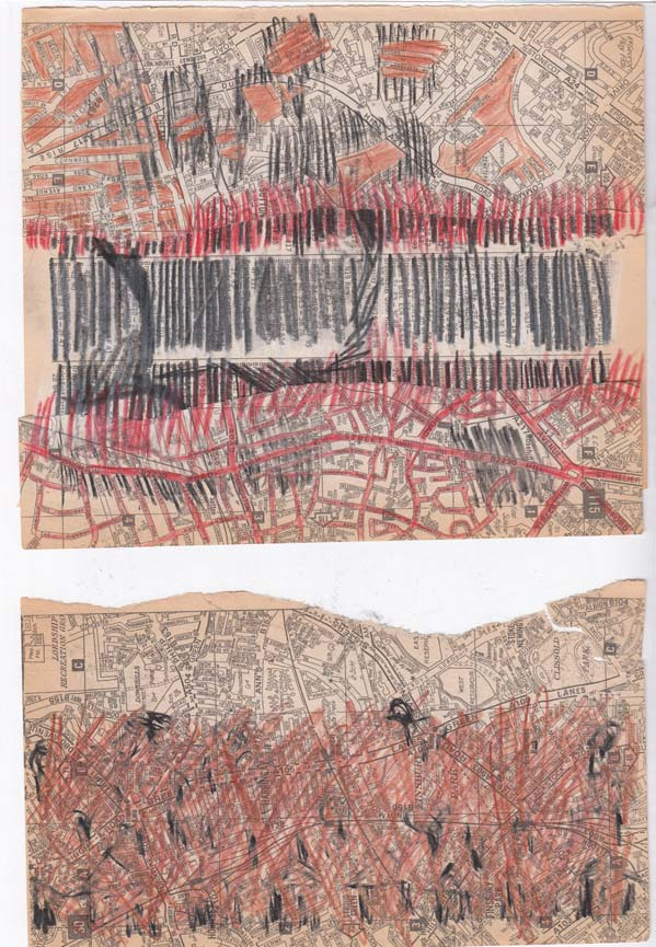 Two drawings, one with collage elements, at 'Altered Books'.