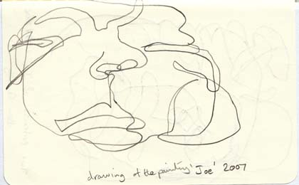 Blind drawing of 'Joe' by Ben Quilty, 2007.