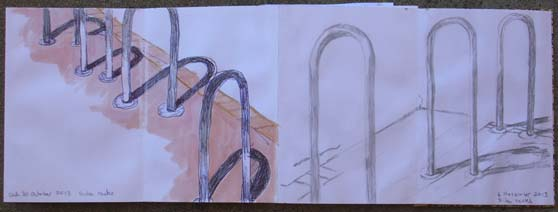Side by side, my bike rack drawings of 30 October and 6 November 2013.