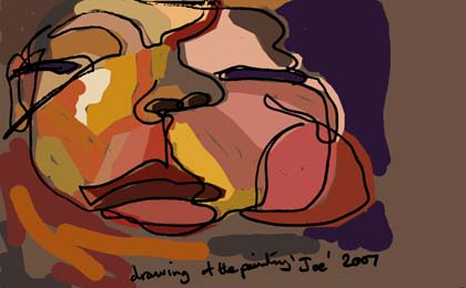 Blind drawing with colour of Joe, 2007, by Ben Quilty.