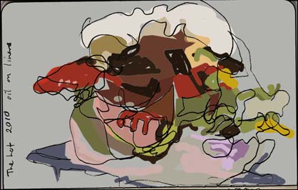 Blind drawing with colour of The Lot by Ben Quilty, 2010.