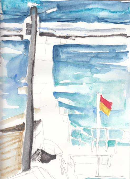 Merewether baths 18 December 2013 with watercolour added.