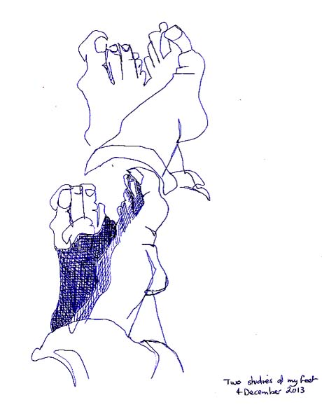 Two sketches of my feet, 4 December 2013.