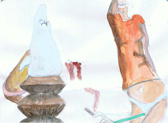 Coloured version of Shark (male) and Unfinished beach polytypch, 15 December 2013