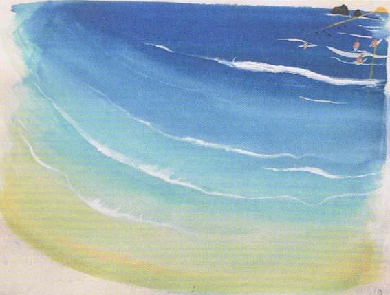 Brett Whiteley, Wategoes Beach II, 1989, watercolour, gouache, collage on white wove paper. Brett Whiteley Studio.