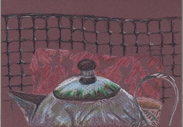 Teapot in the garden, coloured pencil on pastel paper, 12 January 2014.