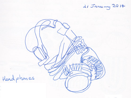 Headphones, ink, 21 January 2014.