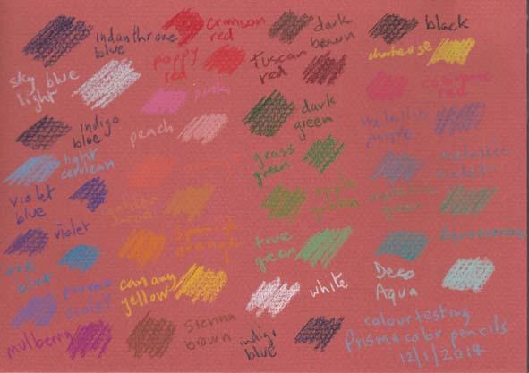 Prismacolor Premier colored pencils test sheet.