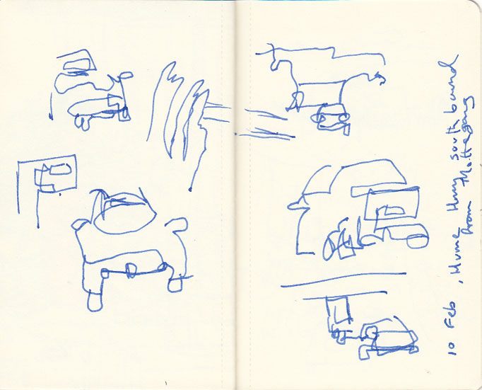 Page 1, road sketches, 10 February 2014.