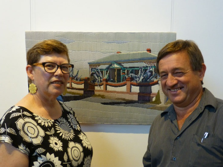 Leonie Andrews with Angus Stewart at the opening of the Efforescent exhibition at the Goulburn Regional Gallery.