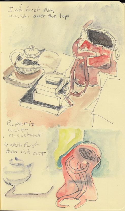 Ink and watercolour on Moleskine sketchbook.