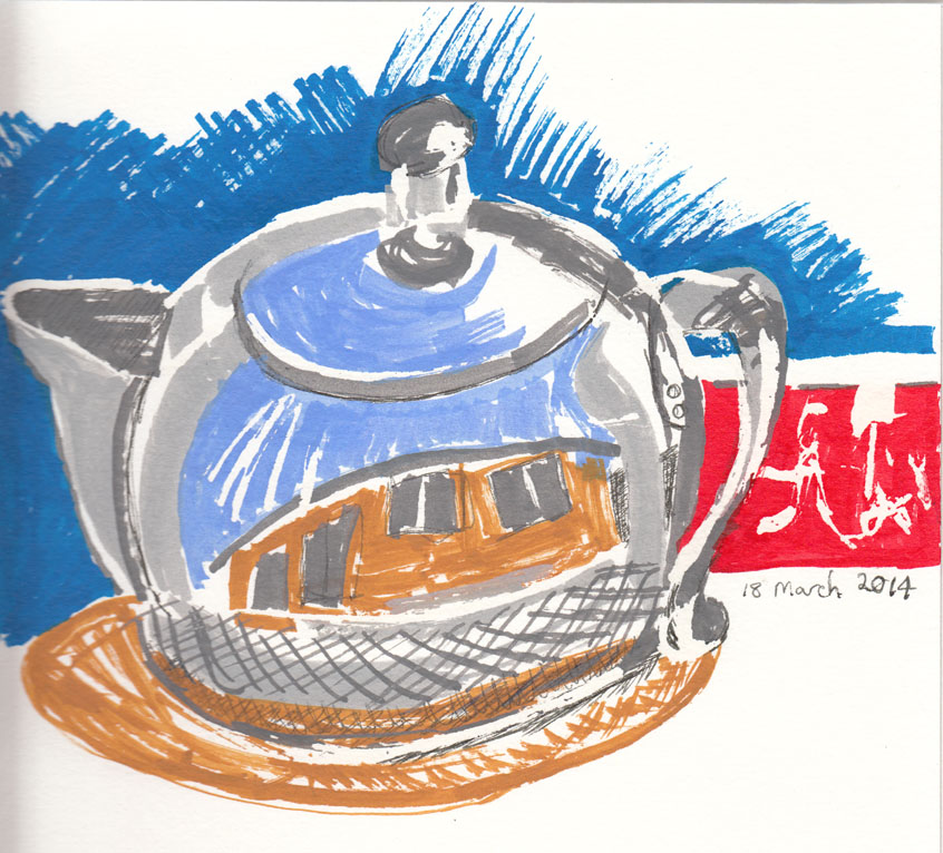 Teapot using Liquitex paint markers and ink, 18 March 2014.