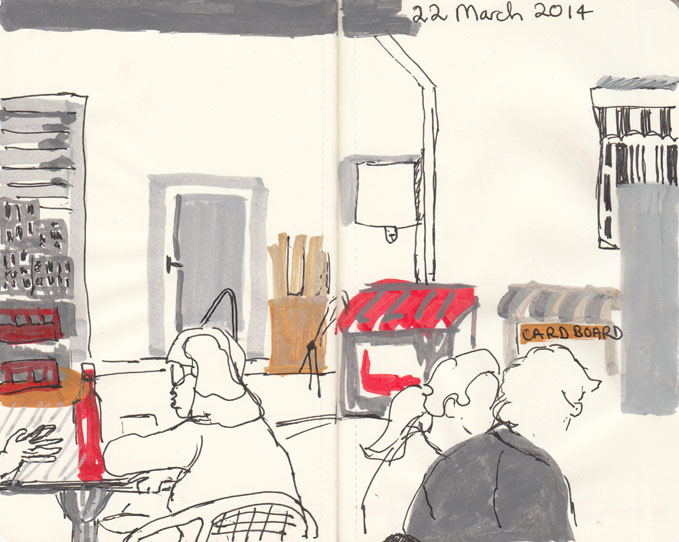 The Italian bakery, 22 March 2014 pen and paint marker.
