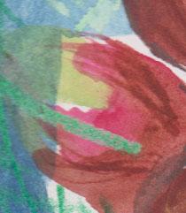 Watercolour over wax crayon.