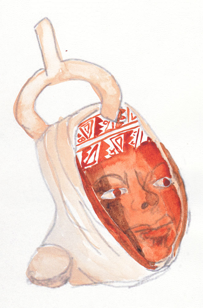 Moche portrait pot, 24 March 2014, watercolour.