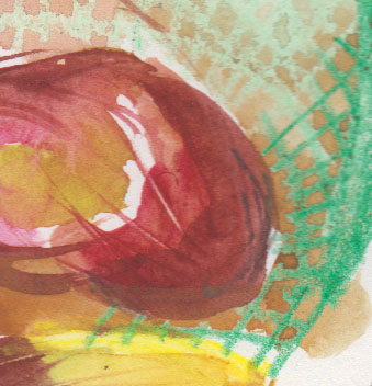 Drawing colour up from wet paint with a stick and a pleasing passage of wash over wax crayon.
