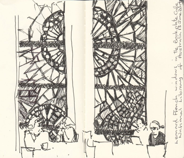 The bookplate cafe and windows by Leonard French, pen and ink, 13 June 2014.