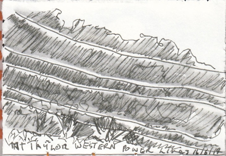 Power cables against the hillside, pen and ink, 16 June 2014.