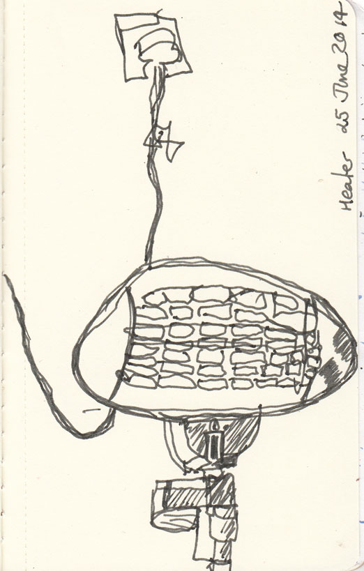 Heater at the coffee shop, pen and ink, 25 June 2014.