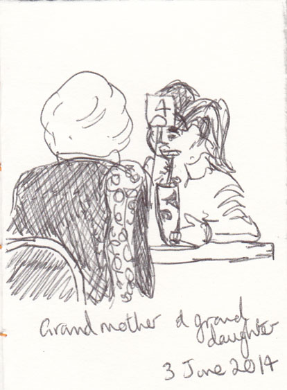 Grandmother and granddaughter at the coffee shop, ball point pen, 3 June 2014.