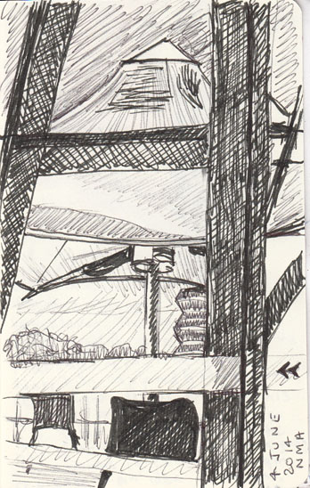 Umbrella and a view back towards the city from the National Museum of Australia, pen and ink, ball point pen4 June 2014.