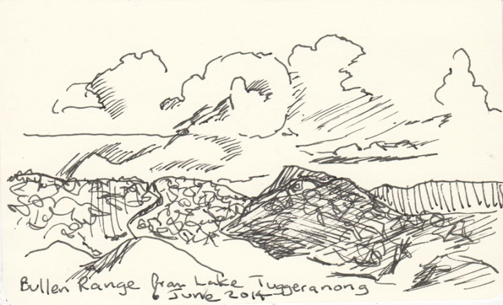 The Bullen Range from Lake Tuggeranong, pen and ink, 6 June 2014.