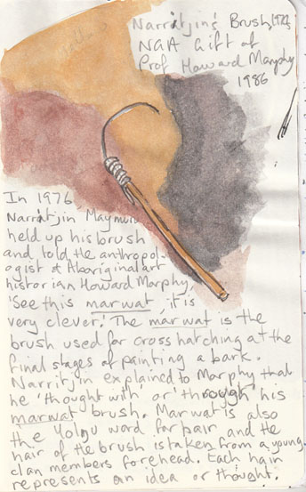 Narritjin's Brush, 1970's, a gift to the National Gallery of Australia, 1986 from Professor Howard Morphy.