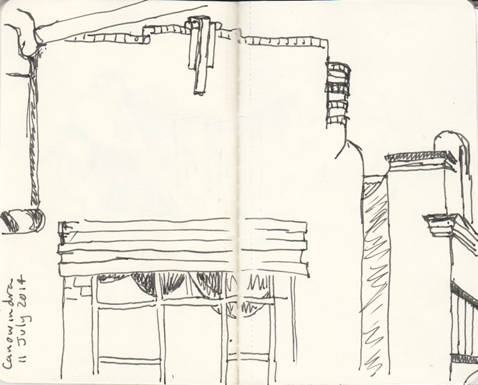 Art Deco building in the main street of Canownwindra, pen and ink 11 July 2014