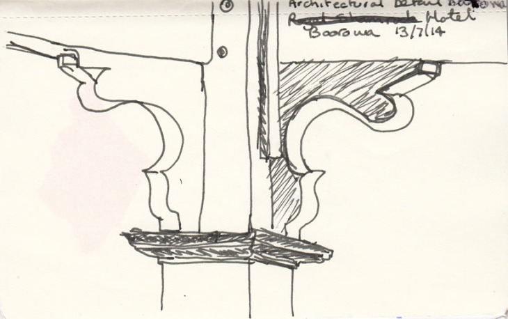 Detail of the underside of the corner post of the verandah of the Boorowa Hotel, pen and ink, 13 July 2014