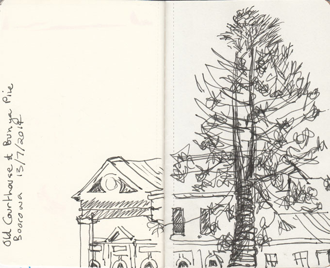 The Boorowa Court House, built in 1860, with Bunya Pine, pen and ink 13 July 2014