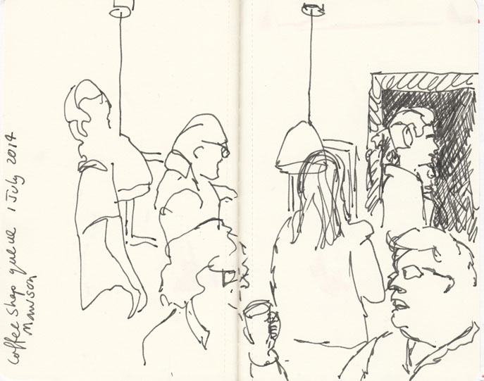 Queueing for coffee, pen and ink,1 July 2014