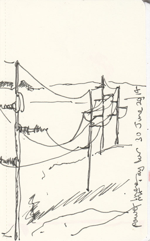 Powerlines on Mt Taylor, pen and ink, 30 June 2014.