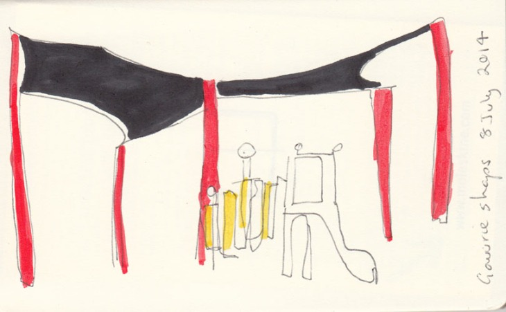Play area and shade sails (definitely not needed this day), pen and ink and acrylic marker pen, 8 July 2014