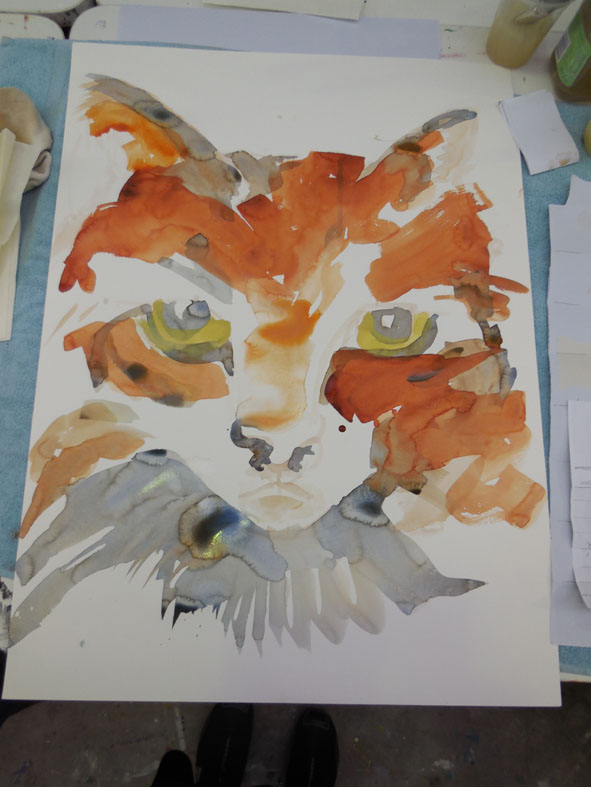 In the middle stages of my painting the basic colour washes have been added.