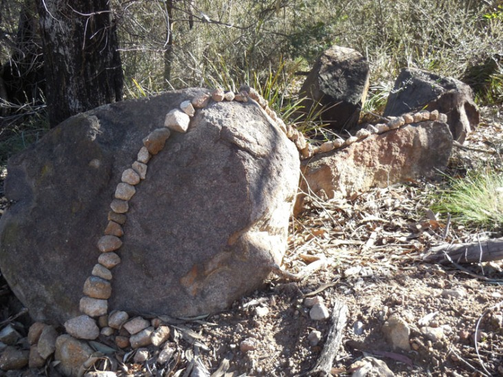 A 'Goldsworthian' intervention on the lower slopes of Mt Taylor, 30 June 2014.