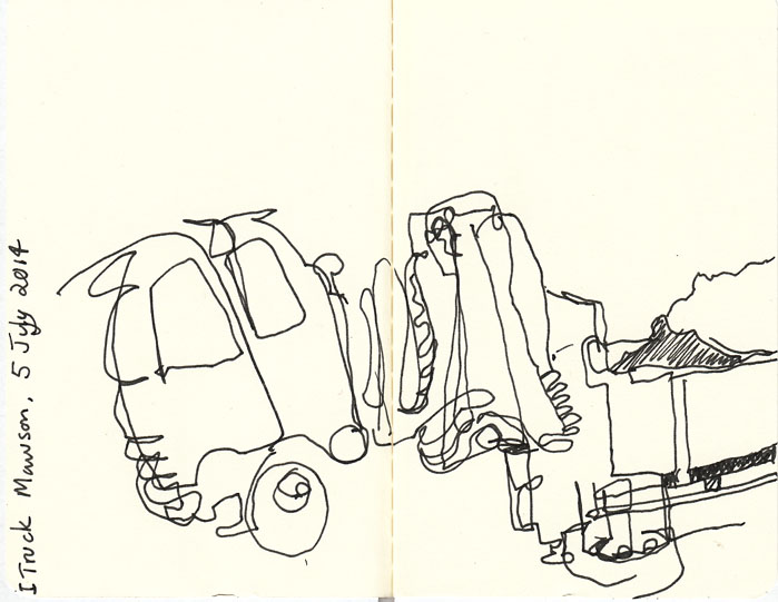 The first half of the truck drawing, pen and ink, 5 August 2014