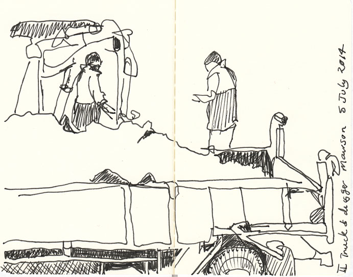 The second part of the truck drawing, 5 August 2014 (not July), pen and ink.