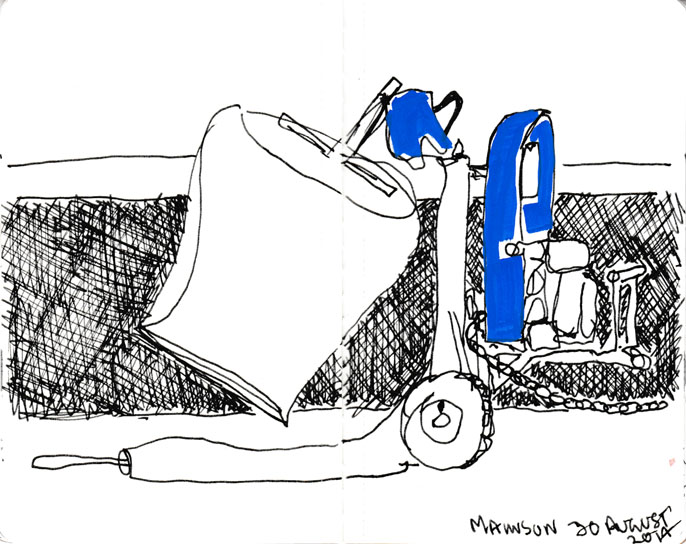 Cement mixer, pen, ink and acrylic paint marker, 30 August 2014