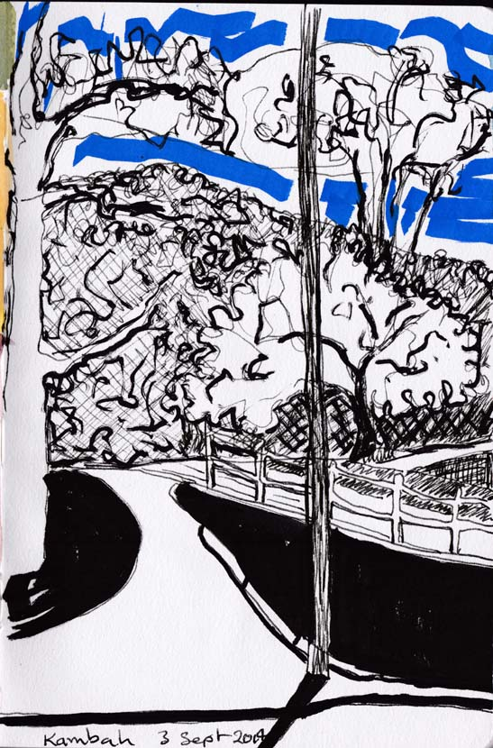 Path and trees, acrylic paint marker, pen and ink, 3 September 2014.