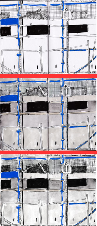 Three stages of the construction sketch, 9 September, pen, ink and watercolour.