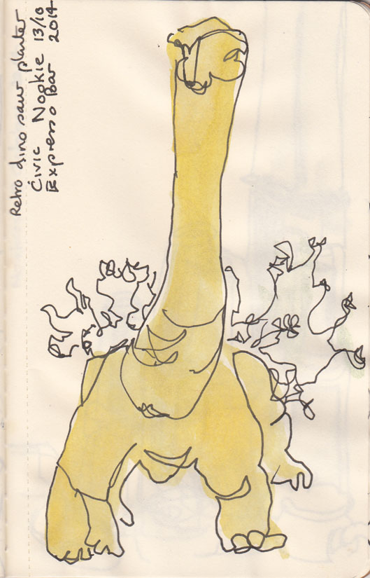 You know how I like dinosaurs, flouro planter at Nookie, pen and ink, watercolour, 13 October 2014