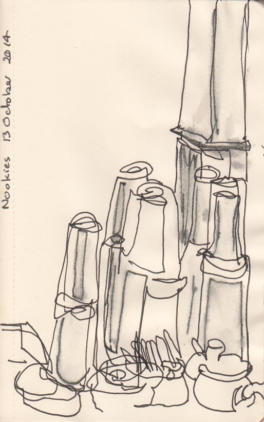 water glasses and caraffes, at Nookie, pen and ink and wash, 13 october 2014